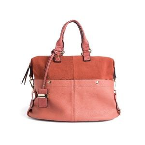 Moda Luxe Purse Peach Faux Leather and Suede